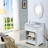 "Derby 30"" Solid White Single Sink Bathroom Vanity Only"