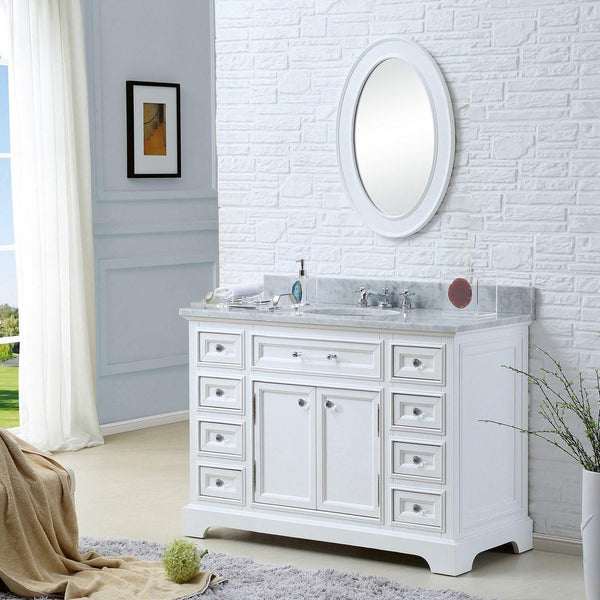 "Derby 48""Solid White Single Sink Vanity With Matching Framed Mirror And Faucet"