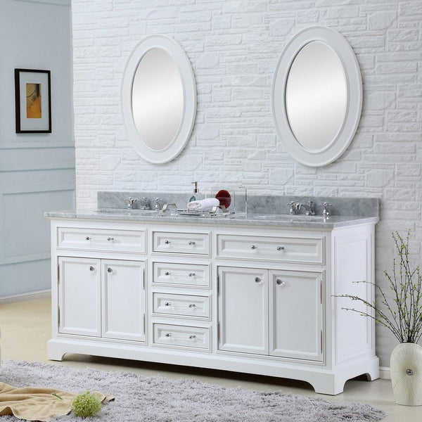 "Derby 60"" Solid White Double Sink Bathroom Vanity And Faucet"