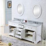 "Derby 72"" Solid White Double Sink Bathroom Vanity And Faucet"