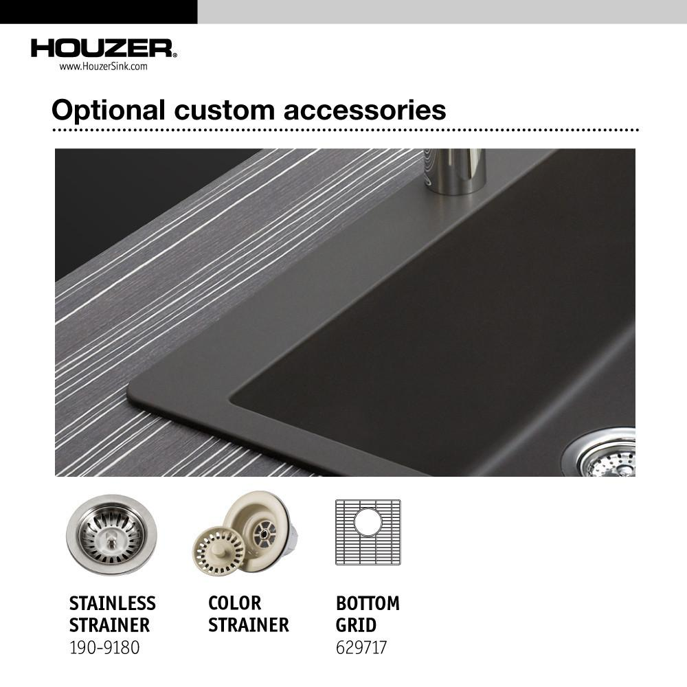 Houzer E-100U MIDNITE Quartztone Series Granite Dual Mount Bar/Prep Sink, Black Kitchen Sink - Dual Mount Houzer
