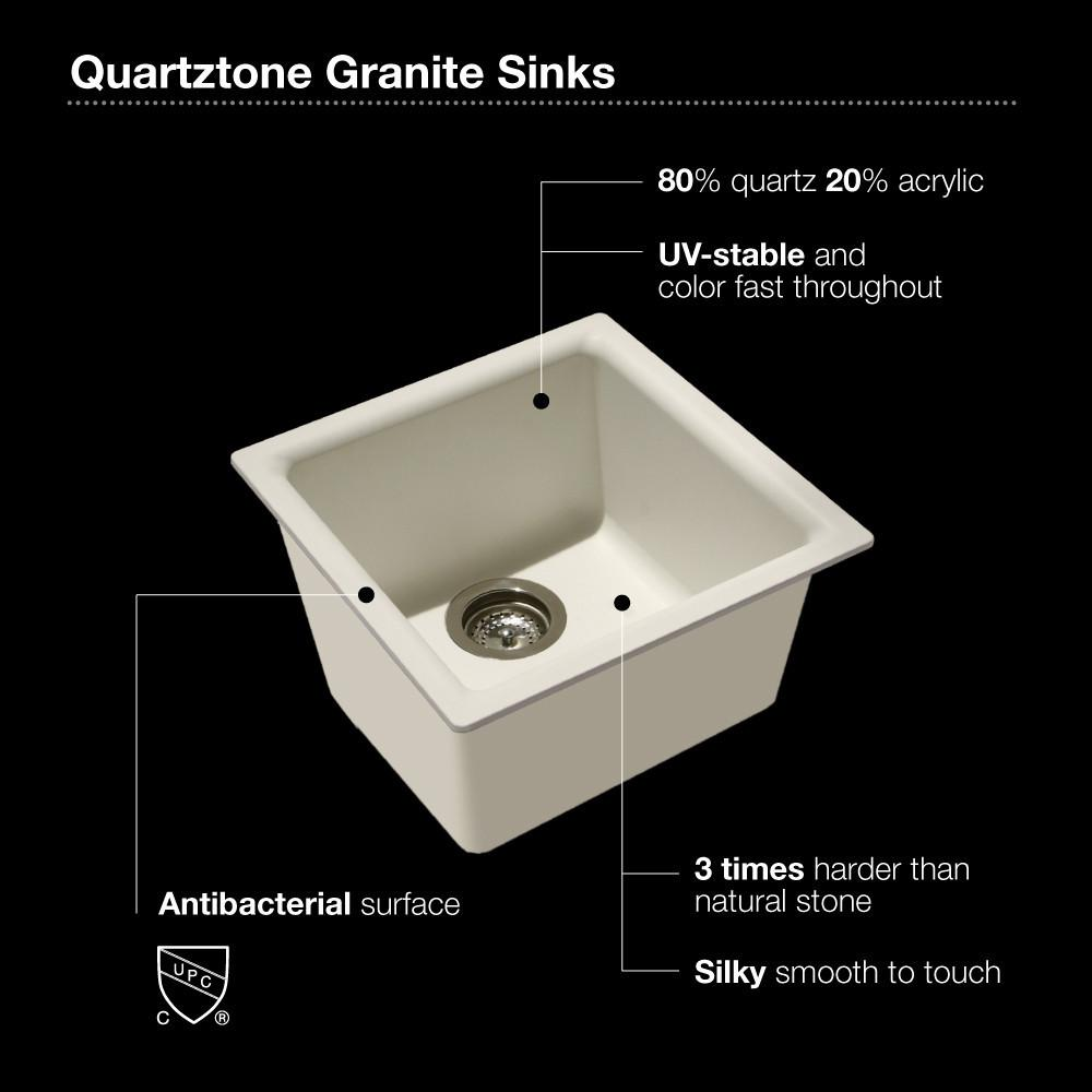 Houzer E-100U SAND Quartztone Series Granite Dual Mount Bar/Prep Sink, Sand Kitchen Sink - Dual Mount Houzer