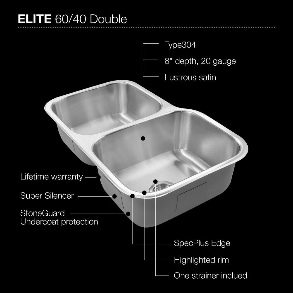 Houzer Elite Series Undermount Stainless Steel 60/40 Double Bowl Kitchen Sink, Small bowl left Kitchen Sink - Undermount Houzer