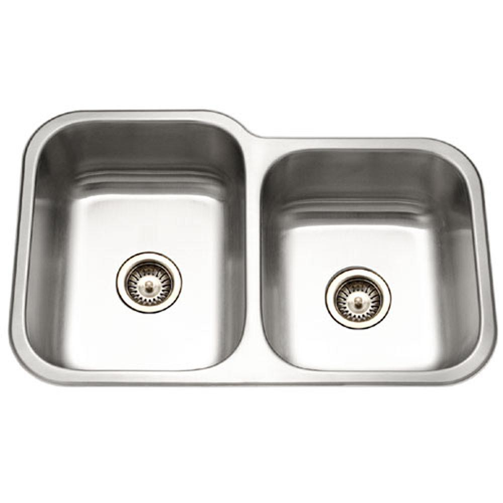 Houzer Elite Series Undermount Stainless Steel 60/40 Double Bowl Kitchen Sink, Small bowl Right Kitchen Sink - Undermount Houzer