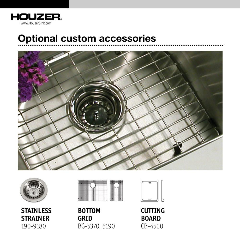 Houzer Epicure Series Apron Front Farmhouse Stainless Steel 70/30 Double Bowl Kitchen Sink, Small bowl left Kitchen Sink - Apron Front Houzer