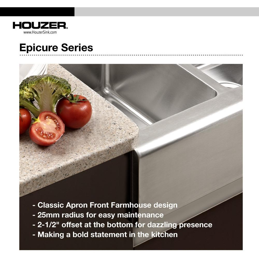 Houzer Epicure Series Apron Front Farmhouse Stainless Steel 70/30Double Bowl Kitchen Sink, Small bowl Right Kitchen Sink - Apron Front Houzer