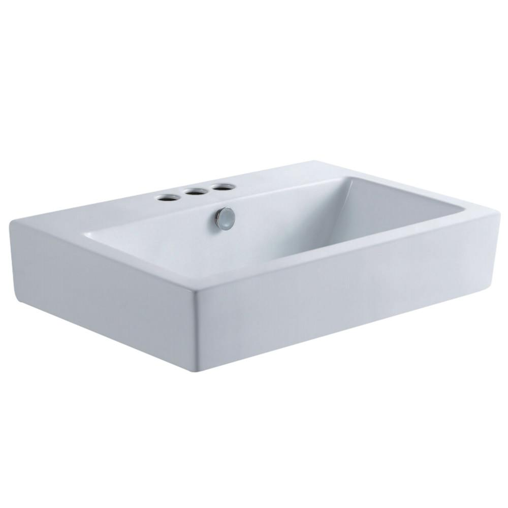 Fauceture EV4318W34 Century Vessel Sink, White Bathroom Sink Kingston Brass Default Title