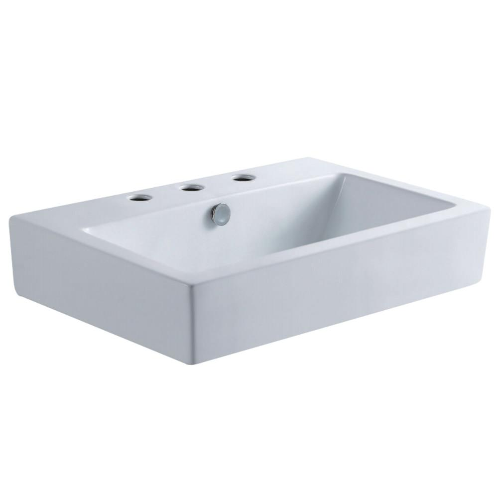 Fauceture EV4318W38 Century Vessel Sink, White Bathroom Sink Kingston Brass Default Title