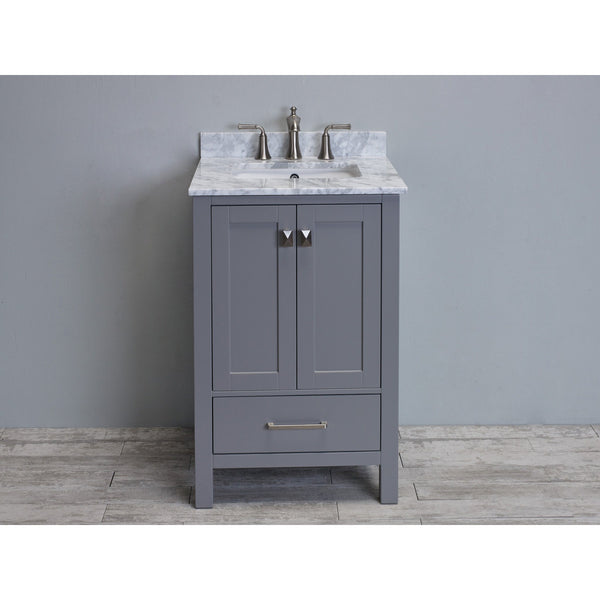Eviva Aberdeen 24 Transitional Grey Bathroom Vanity With White Carrera