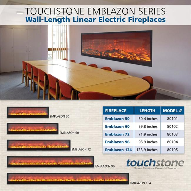 Touchstone Emblazon 72 Wall Length Fireplaces Electric Fireplace Touchstone