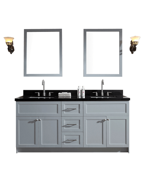 "ARIEL Hamlet 73"" Double Sink Vanity Set w/ Black Granite Countertop in Grey"