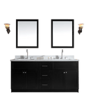 "Ariel Hamlet 73"" Double Sink Bathroom Vanity Set with White Quartz Countertop"