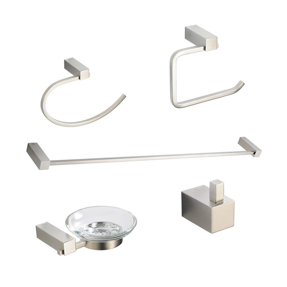 Fresca Ottimo 5-Piece Bathroom Accessory Set - Brushed Nickel Bathroom Accessory Set Fresca