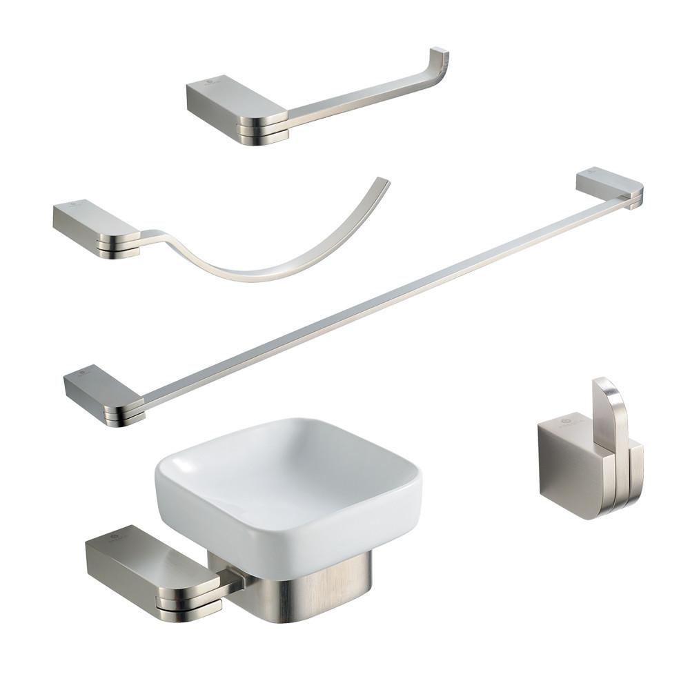 Fresca Solido 5-Piece Bathroom Accessory Set - Brushed Nickel Bathroom Accessory Set Fresca