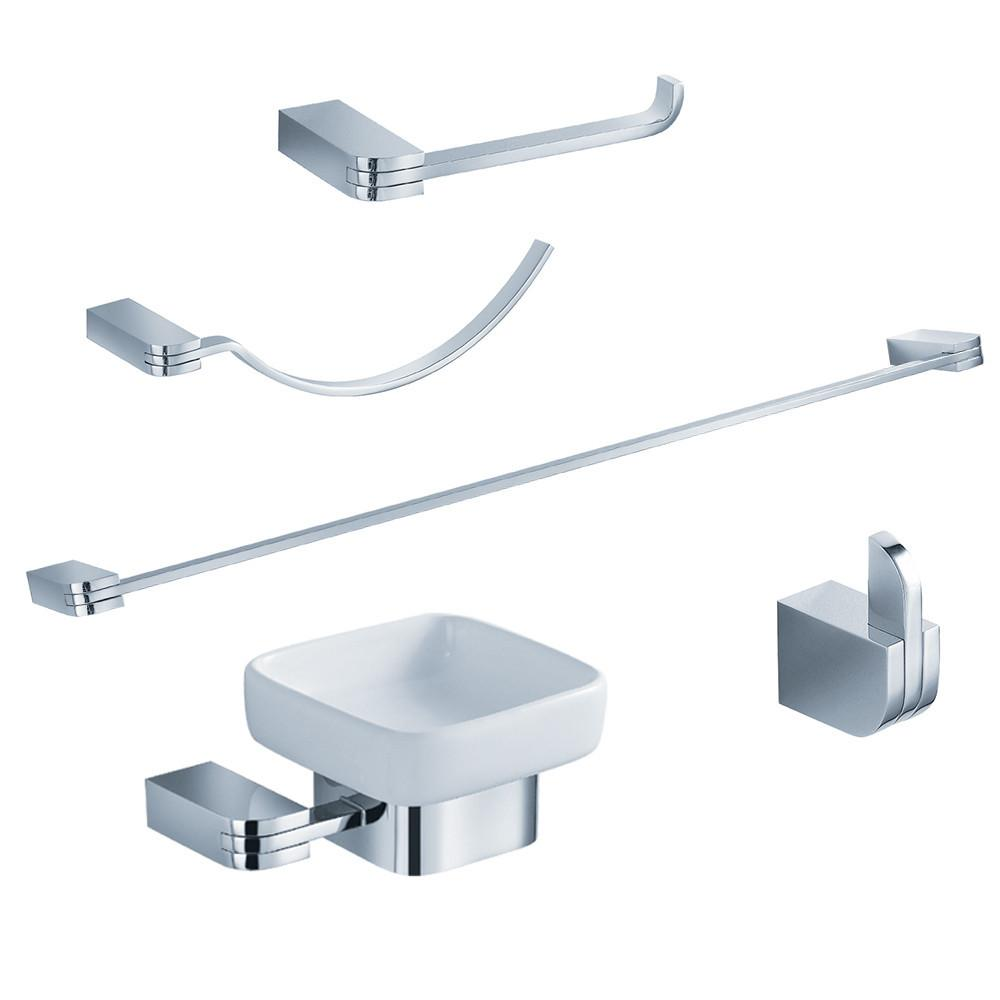 Fresca Solido 5-Piece Bathroom Accessory Set - Chrome Bathroom Accessory Set Fresca