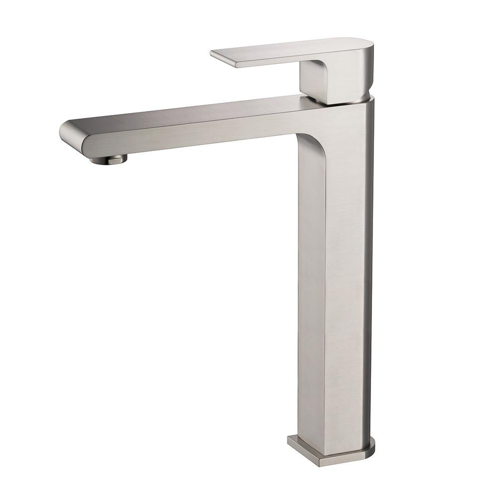 Fresca Allaro Single Hole Vessel Mount Bathroom Vanity Faucet - Brushed Nickel Bathroom Faucet Fresca