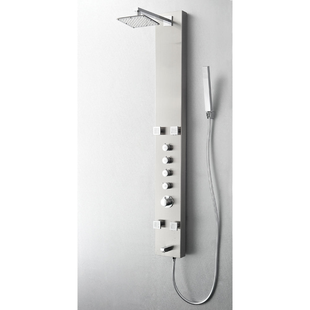Fresca Pavia Stainless Steel (Brushed Silver) Thermostatic Shower Massage Panel Shower Massage Panel Fresca