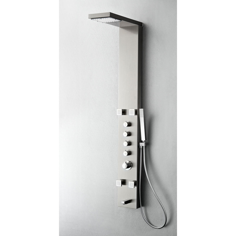 Fresca Verona Stainless Steel (Brushed Silver) Thermostatic Shower Massage Panel Shower Massage Panel Fresca