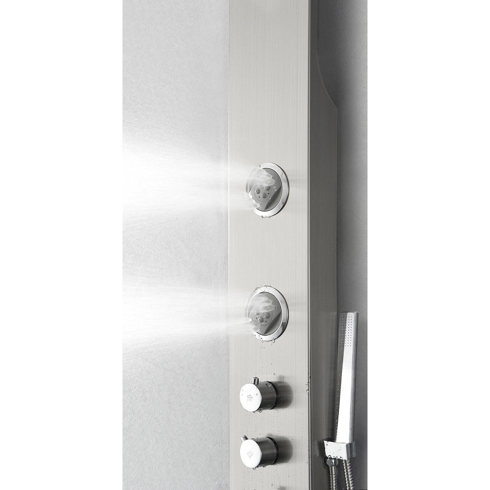 Fresca Geona Stainless Steel (Brushed Silver) Thermostatic Shower Massage Panel Shower Massage Panel Fresca