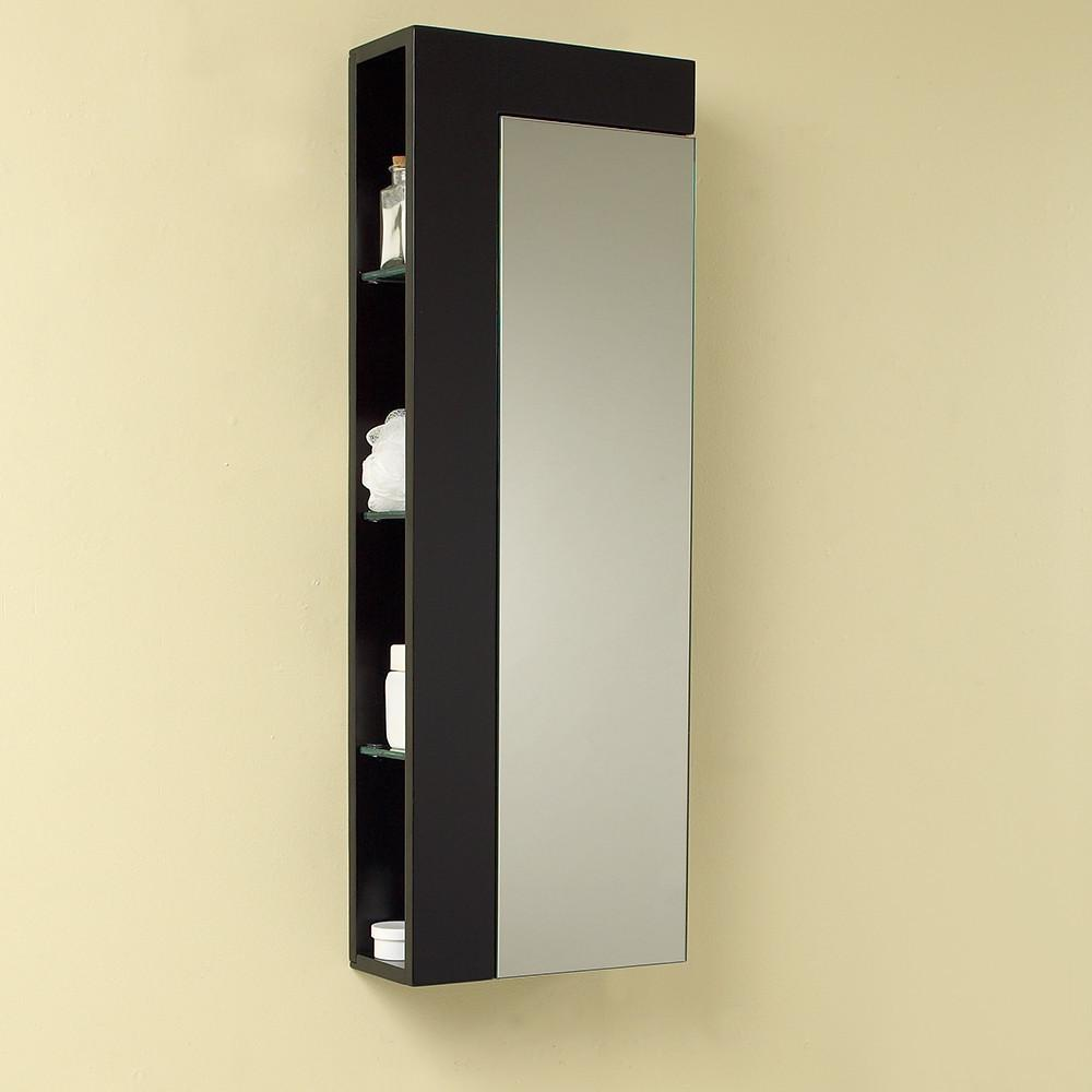 Fresca Espresso Bathroom Linen Side Cabinet w/ Large Mirror Door Linen Cabinet Fresca