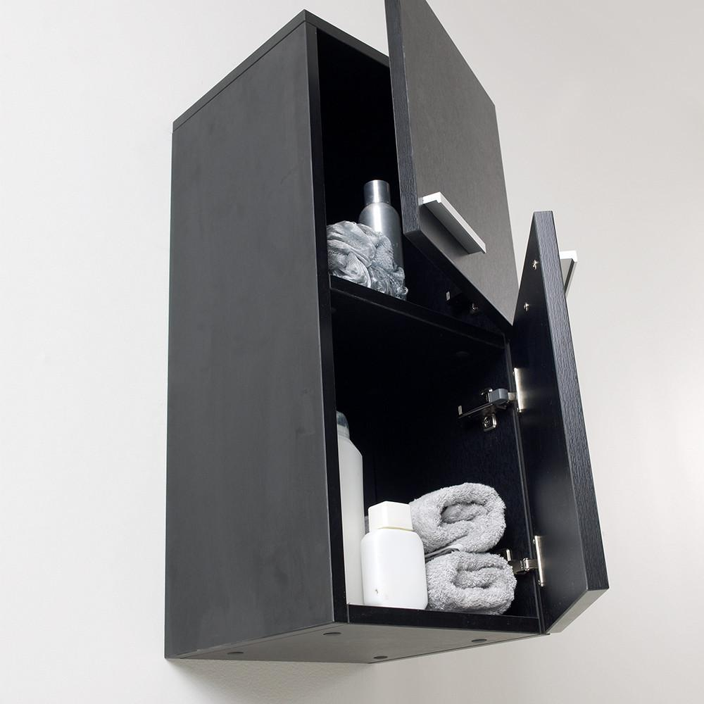 Fresca Black Bathroom Linen Side Cabinet w/ 2 Storage Areas Linen Cabinet Fresca