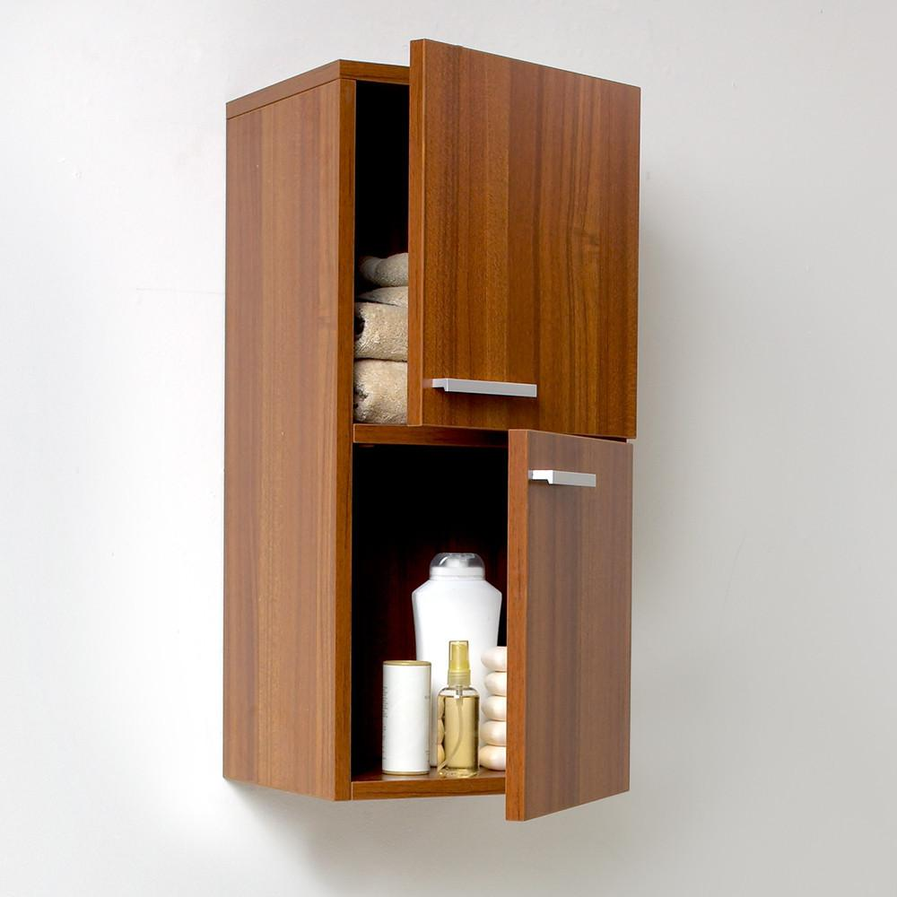 Fresca Teak Bathroom Linen Side Cabinet w/ 2 Storage Areas Linen Cabinet Fresca