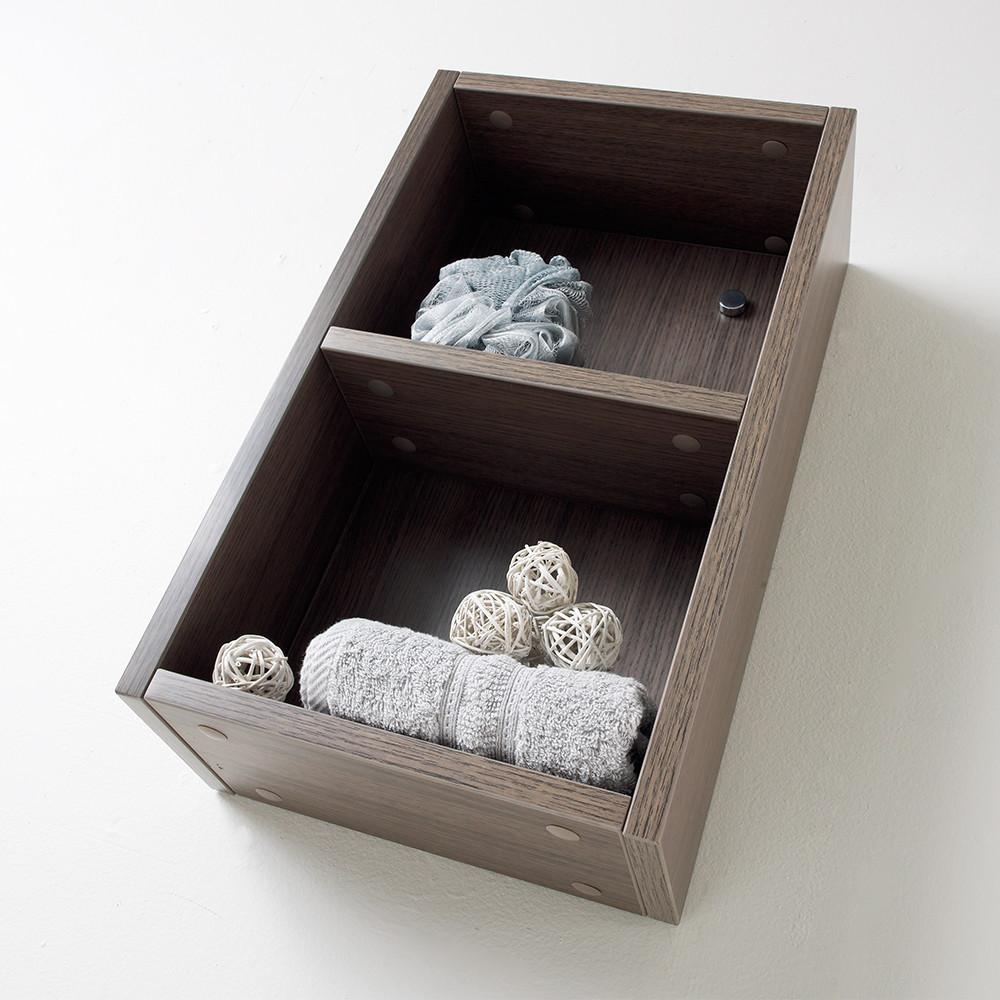 Fresca Gray Oak Bathroom Linen Side Cabinet w/ 2 Open Storage Areas Linen Cabinet Fresca