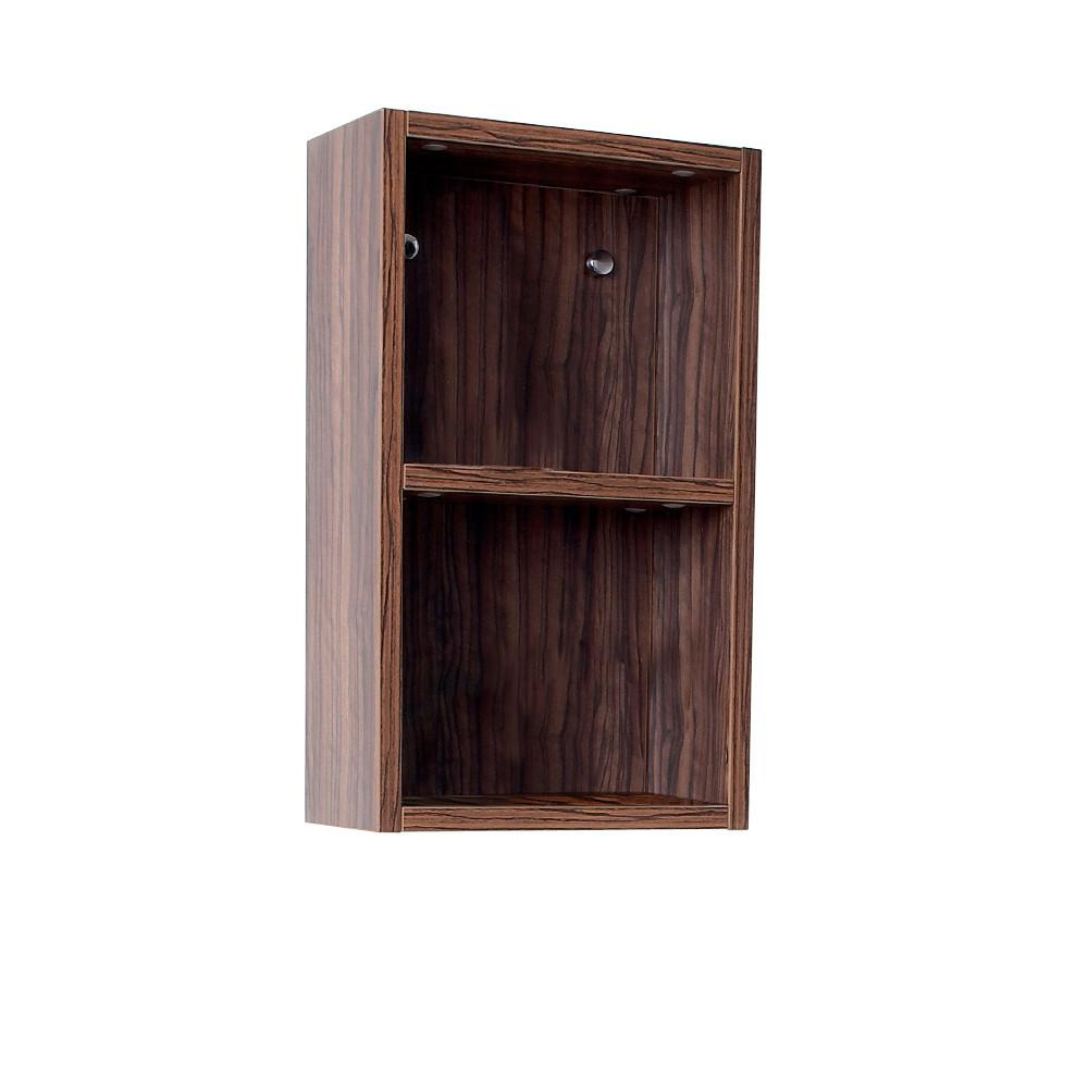 Fresca Walnut Bathroom Linen Side Cabinet w/ 2 Open Storage Areas Linen Cabinet Fresca