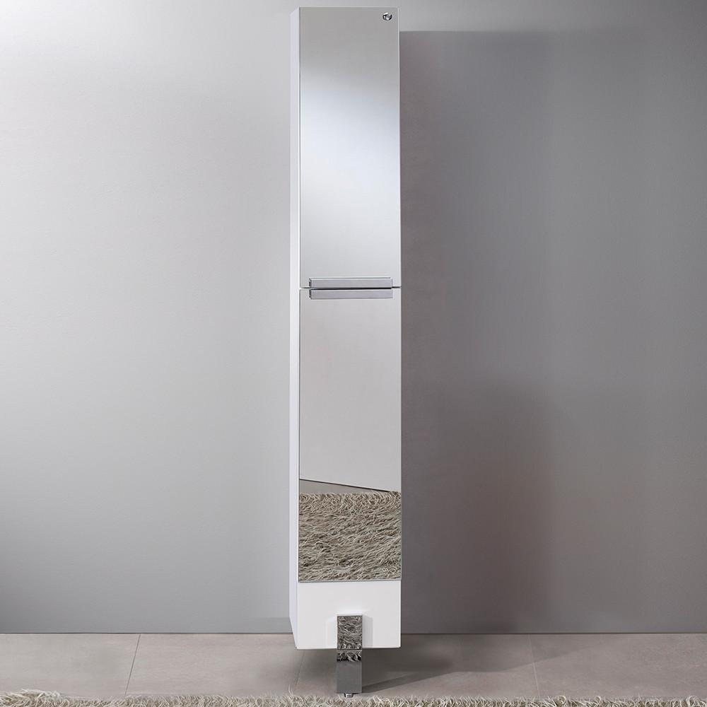 Fresca Adour Mirrored Bathroom Linen Side Cabinet Linen Cabinet Fresca