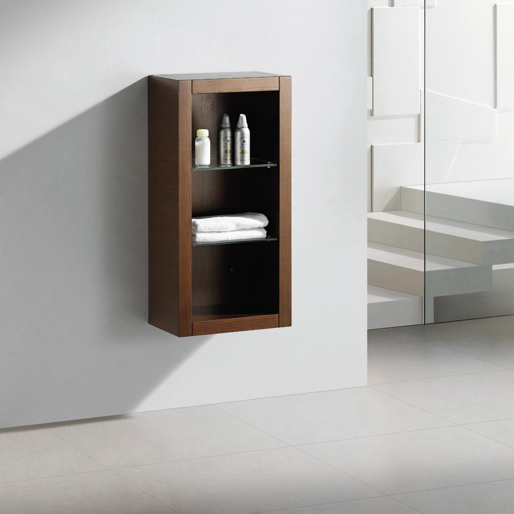 Fresca Allier Wenge Brown Bathroom Linen Side Cabinet w/ 2 Glass Shelves Linen Cabinet Fresca