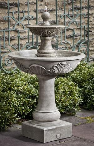 Acanthus Two Tiered Outdoor Cast Stone Garden Water Fountain