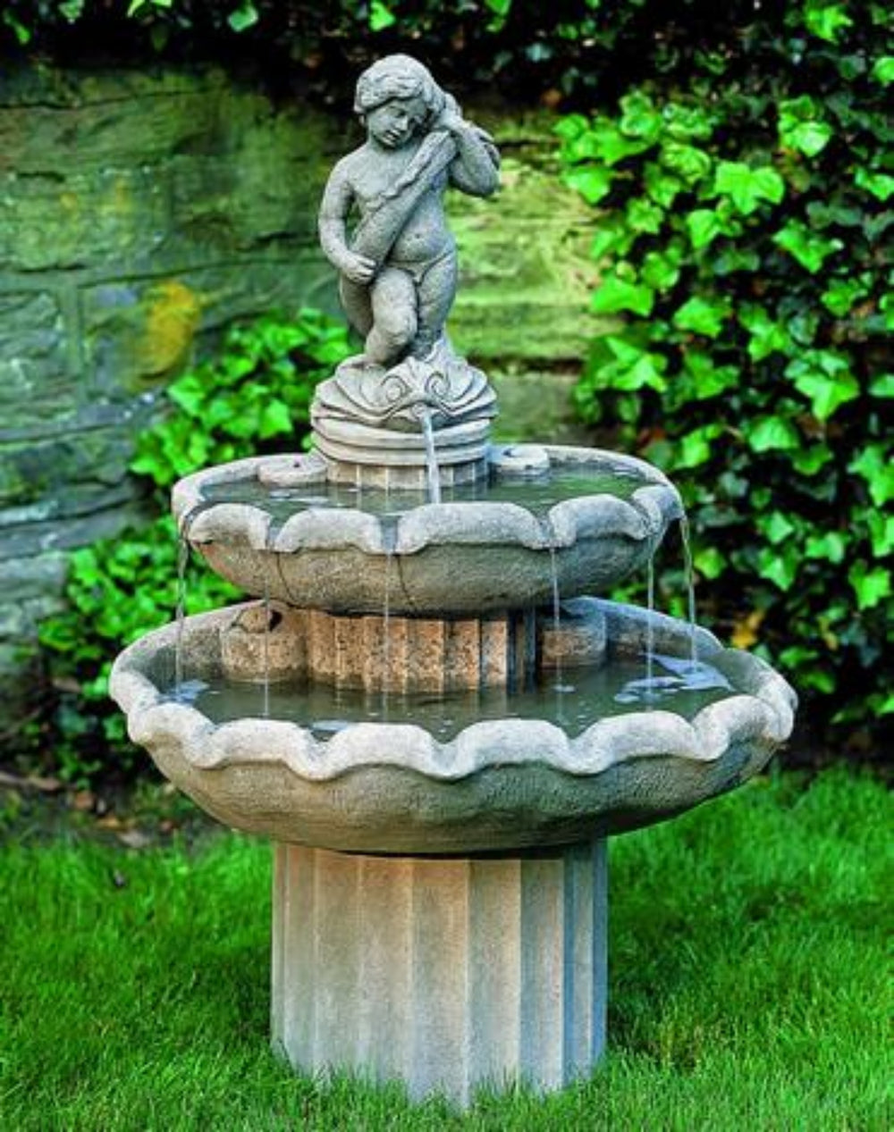 Amalfi Two Tiered Outdoor Cast Stone Garden Fountain Fountain Campania International