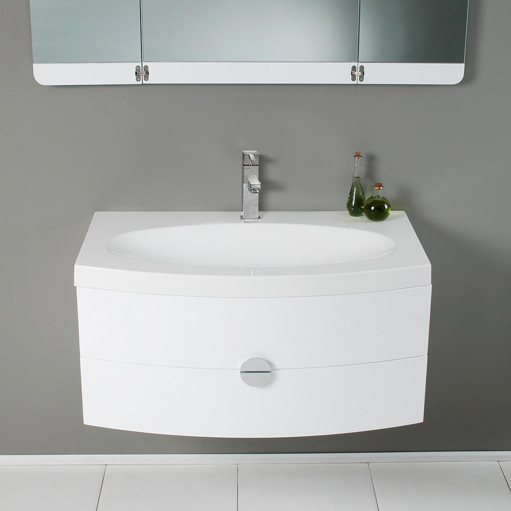 Fresca Modern Bathroom Vanity with 3 Panel Folding Mirror & Free Faucet - White Vanity Fresca