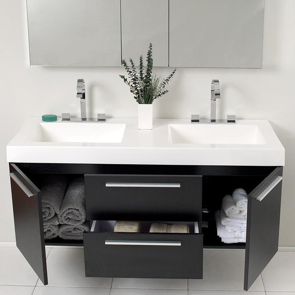 Fresca Opulento Black Modern Double Sink Bathroom Vanity W