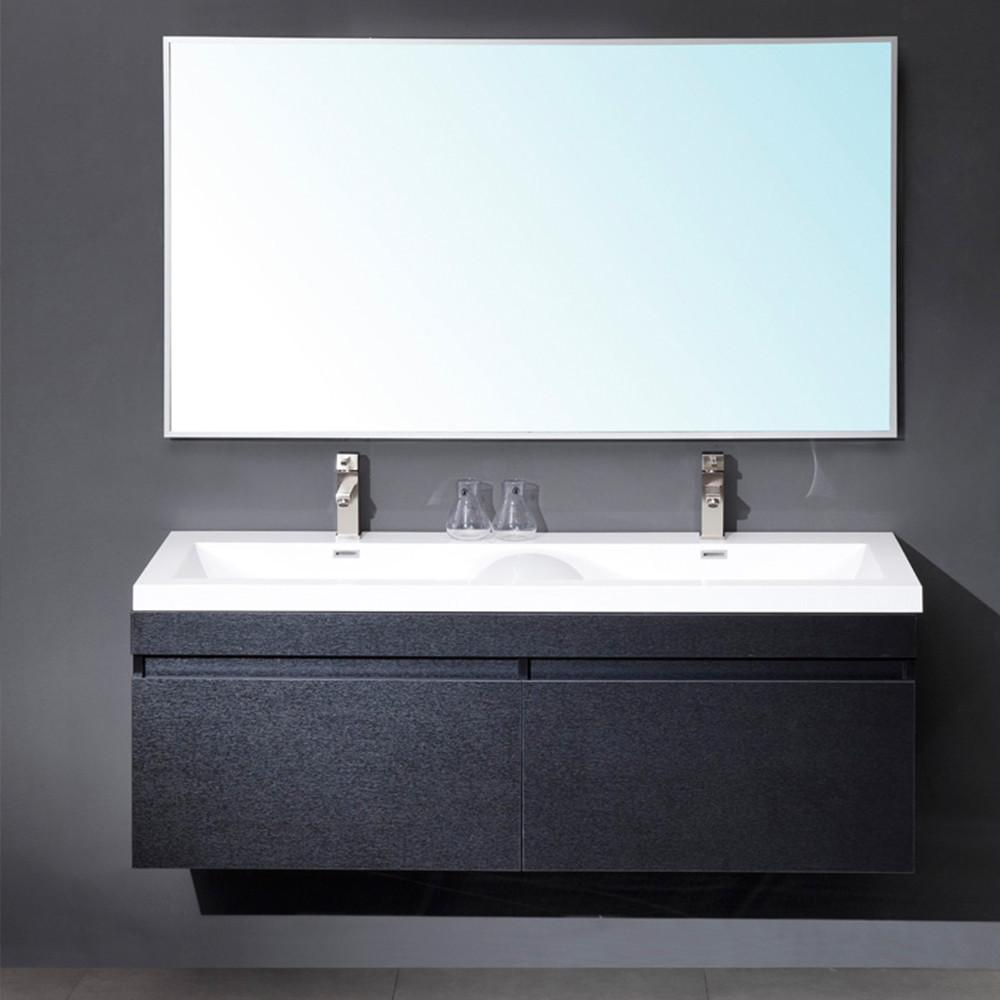 Fresca Largo Black Modern Bathroom Vanity w/ Wavy Double Sinks Vanity Fresca