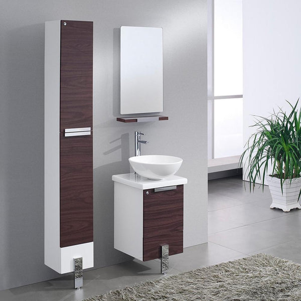 "Adour 16"" Dark Walnut Modern Bathroom Vanity w/ Mirror & Free Faucet"