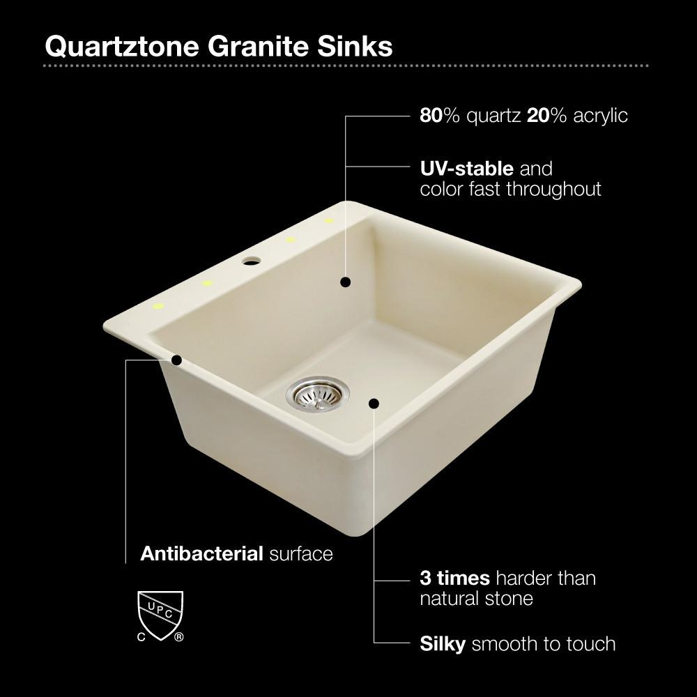 Houzer MOCHA Quartztone Series Granite Topmount Single Bowl Kitchen Sink, Mocha Kitchen Sink - Topmount Houzer
