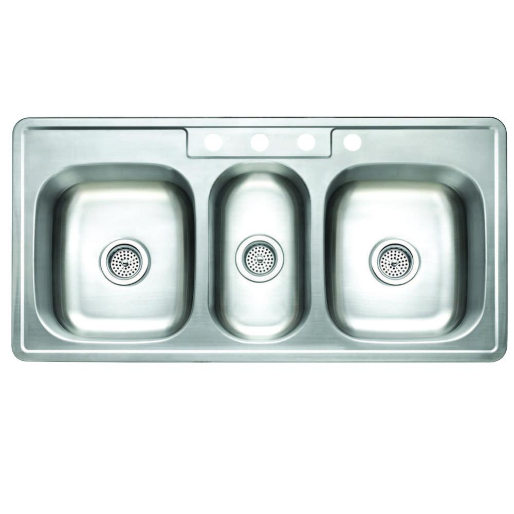 Studio GKT5021969TBN Self Rimming Triple Bowl Kitchen Sink , Brushed Nickel Kitchen Sink Kingston Brass Default Title