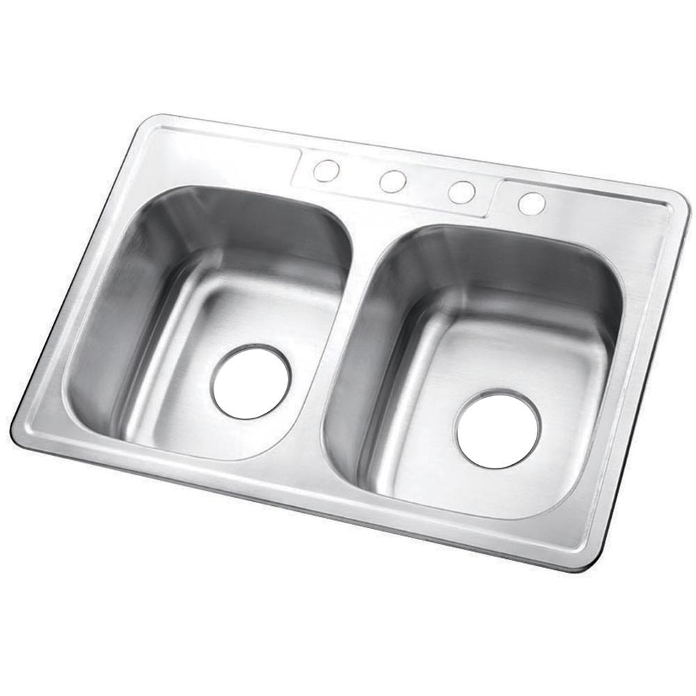 Gourmetier GKTD33226 Drop-in Double Bowl Kitchen Sink Kitchen Sink Kingston Brass Default Title