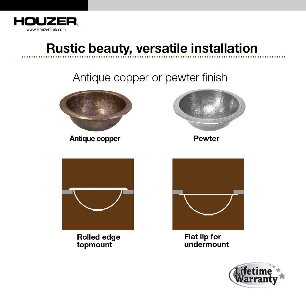 Houzer Hammerwerks Series August Undermount Copper Lavatory Sink, Pewter Bathroom Sink - Undermount Houzer