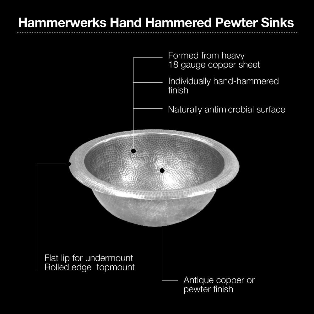 Houzer HW-AUG2RS Hammerwerks Series August Topmount Copper Lavatory Sink, Pewter Bathroom Sink - Topmount Houzer