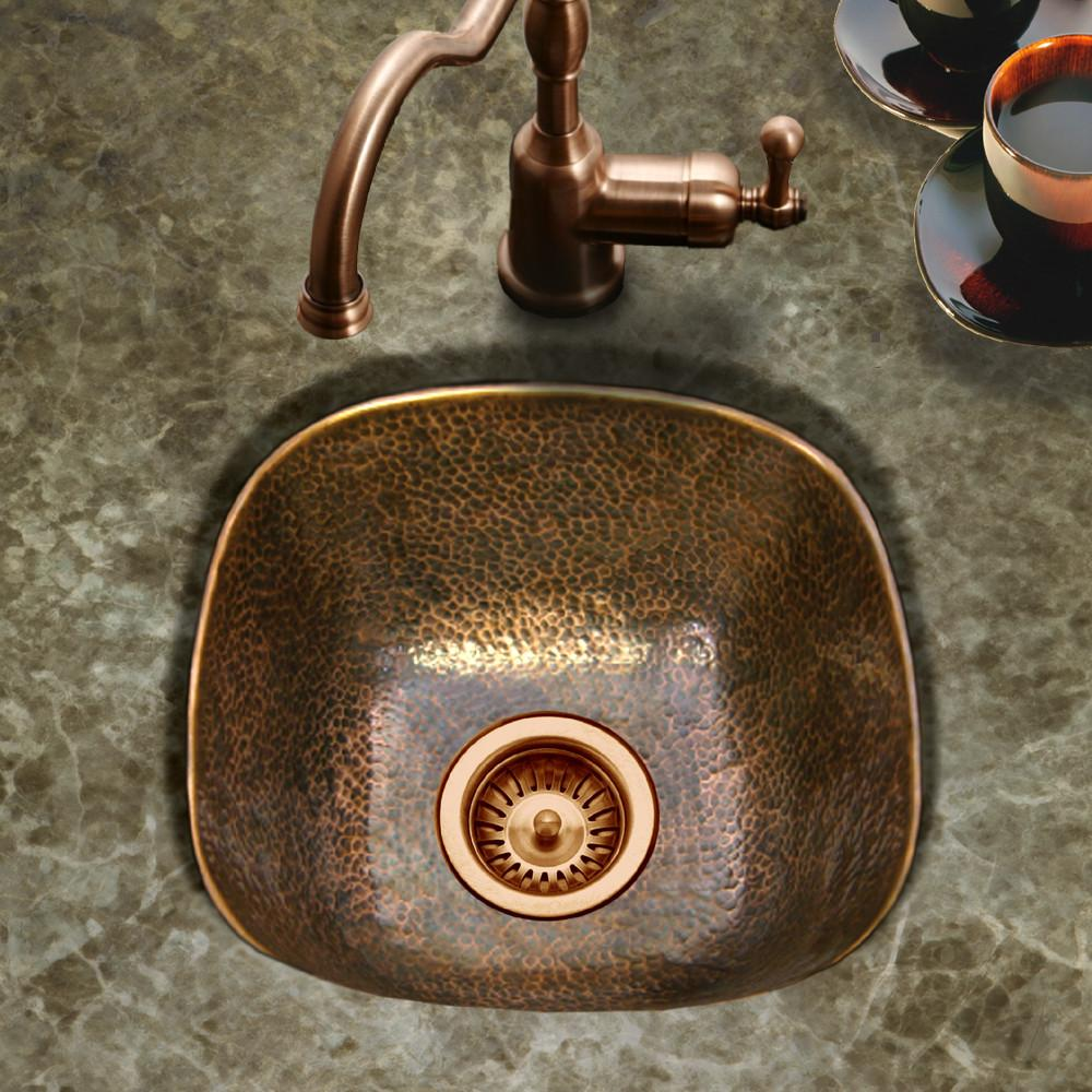 Houzer Hammerwerks Series Undermount Copper Single Bowl Bar/Prep Sink, Antique Copper Bar Sink - Undermount Houzer