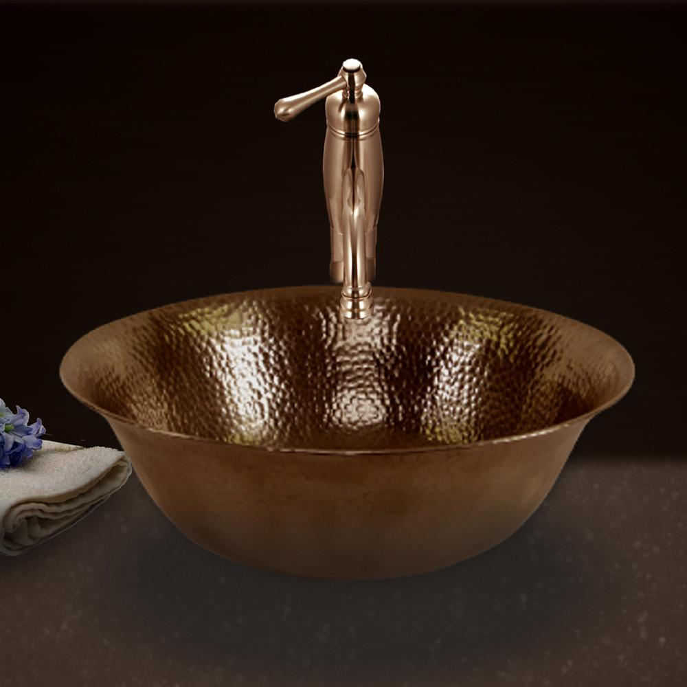 Houzer Hammerwerks Series Undermount Copper Single Bowl Lavatory Vessel Sink, Antique Copper Bathroom Sink - Vessel sink Houzer