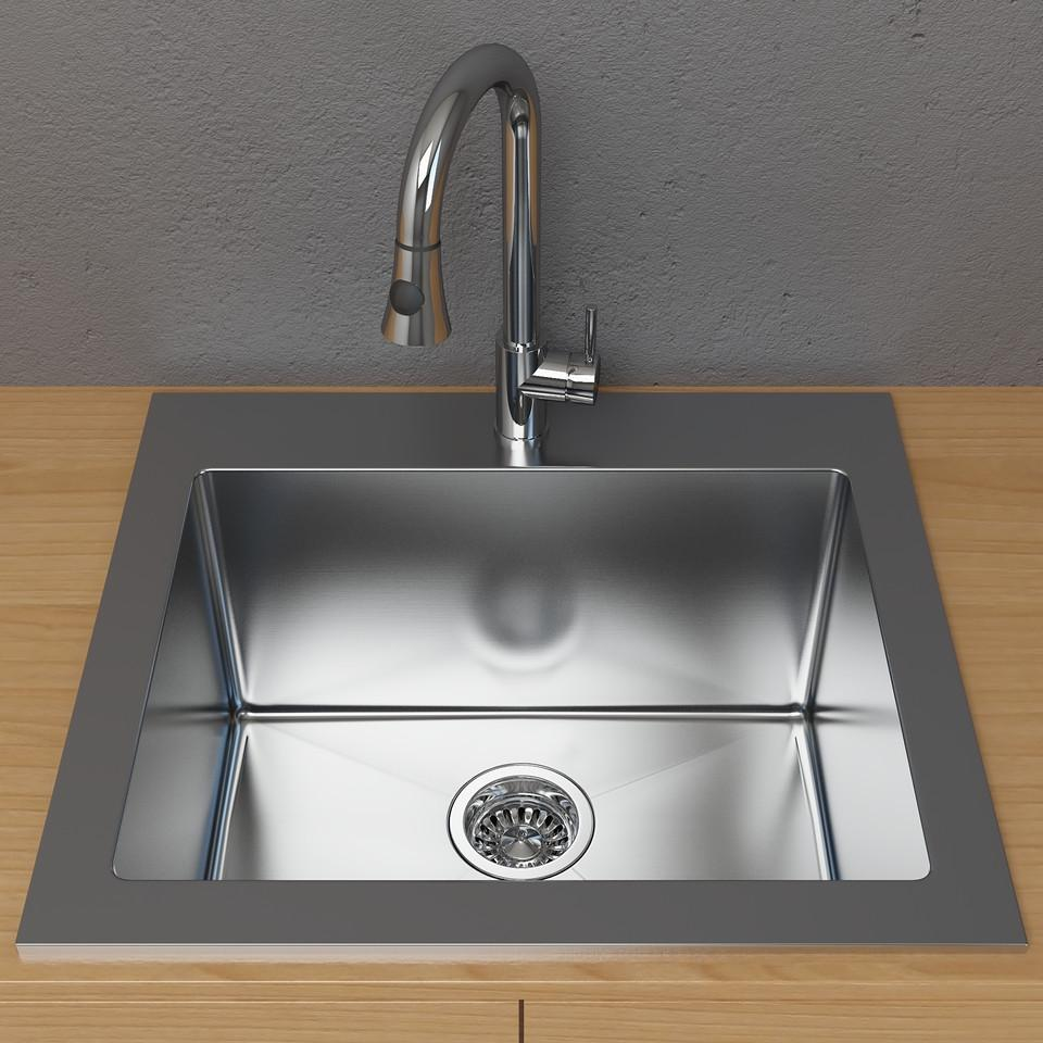 Cantrio Single Basin Drop-In Sink Laundry Stainless Steel Cantrio