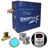SteamSpa IN1050CH-A Indulgence 10.5 KW QuickStart Acu-Steam Bath Generator Package with Built-in Auto Drain in Polished Chrome