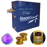 SteamSpa IN1050GD Indulgence 10.5 KW QuickStart Acu-Steam Bath Generator Package in Polished Gold