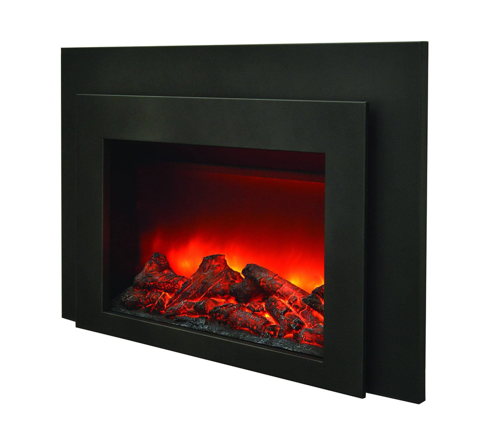 Amantii Deep Insert Electric Fireplace with Black Steel Surround & Overlay Electric Fireplace Amantii