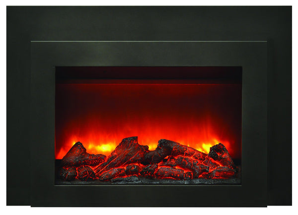 Amantii Deep Insert Electric Fireplace with Black Steel Surround & Overlay