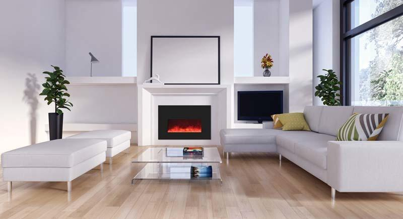 Amantii Small Insert w/ blk gls surround, log set and 3 colors of media Electric Fireplace Amantii