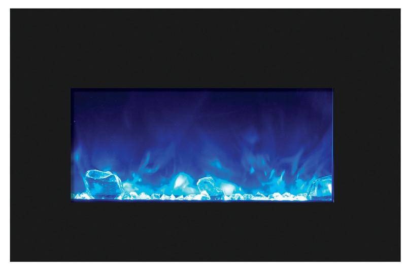 Amantii Medium Insert w/ blk gls surround, log set and 3 colors of media Electric Fireplace Amantii